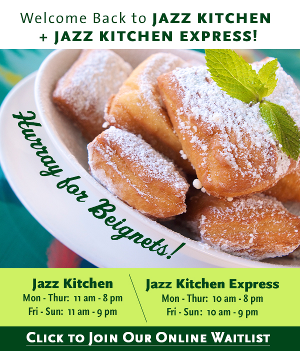 Welcome back to Jazz Kitchen and Jazz Kitchen Express.  Click to join our online waitlist.